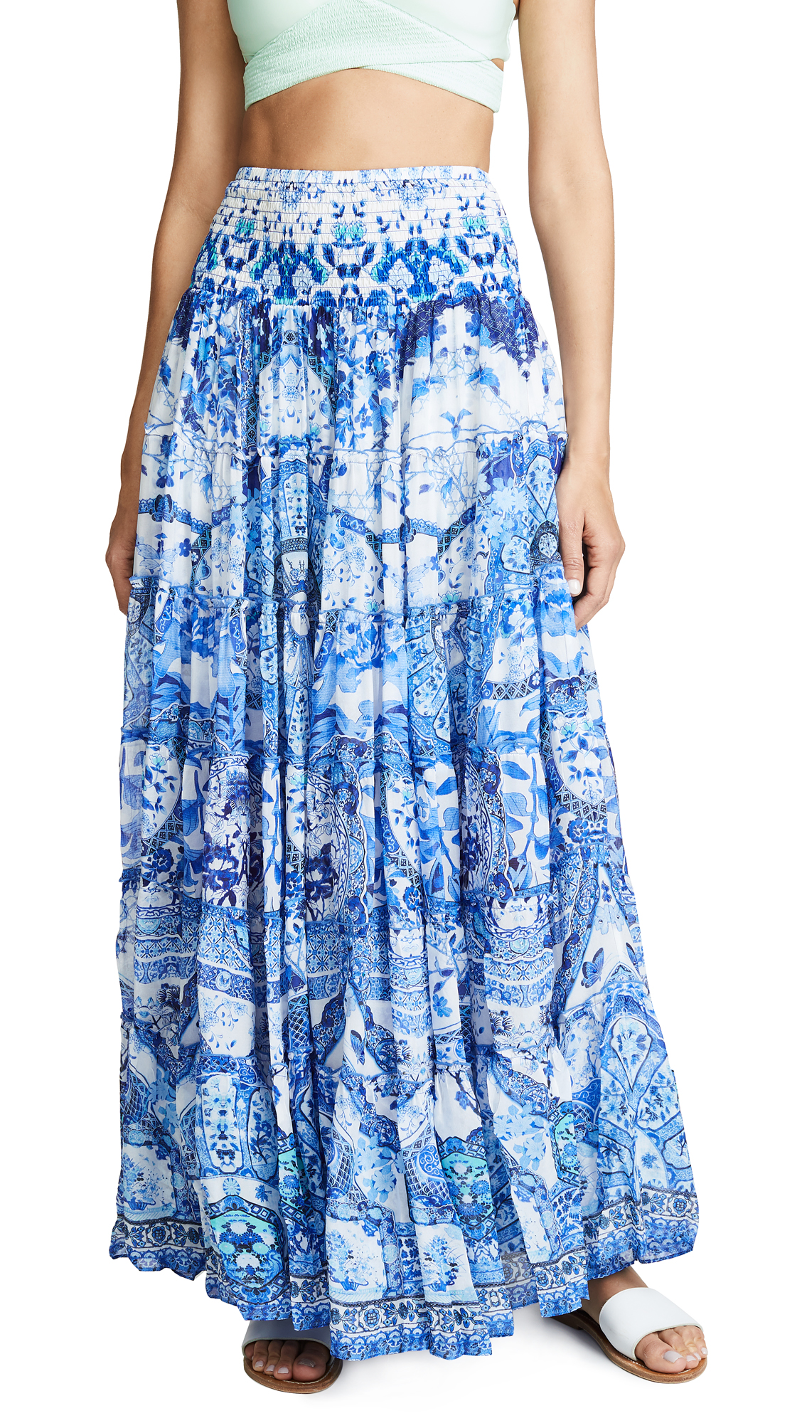 Sheer Tiered Maxi Skirt / Dress in Blue