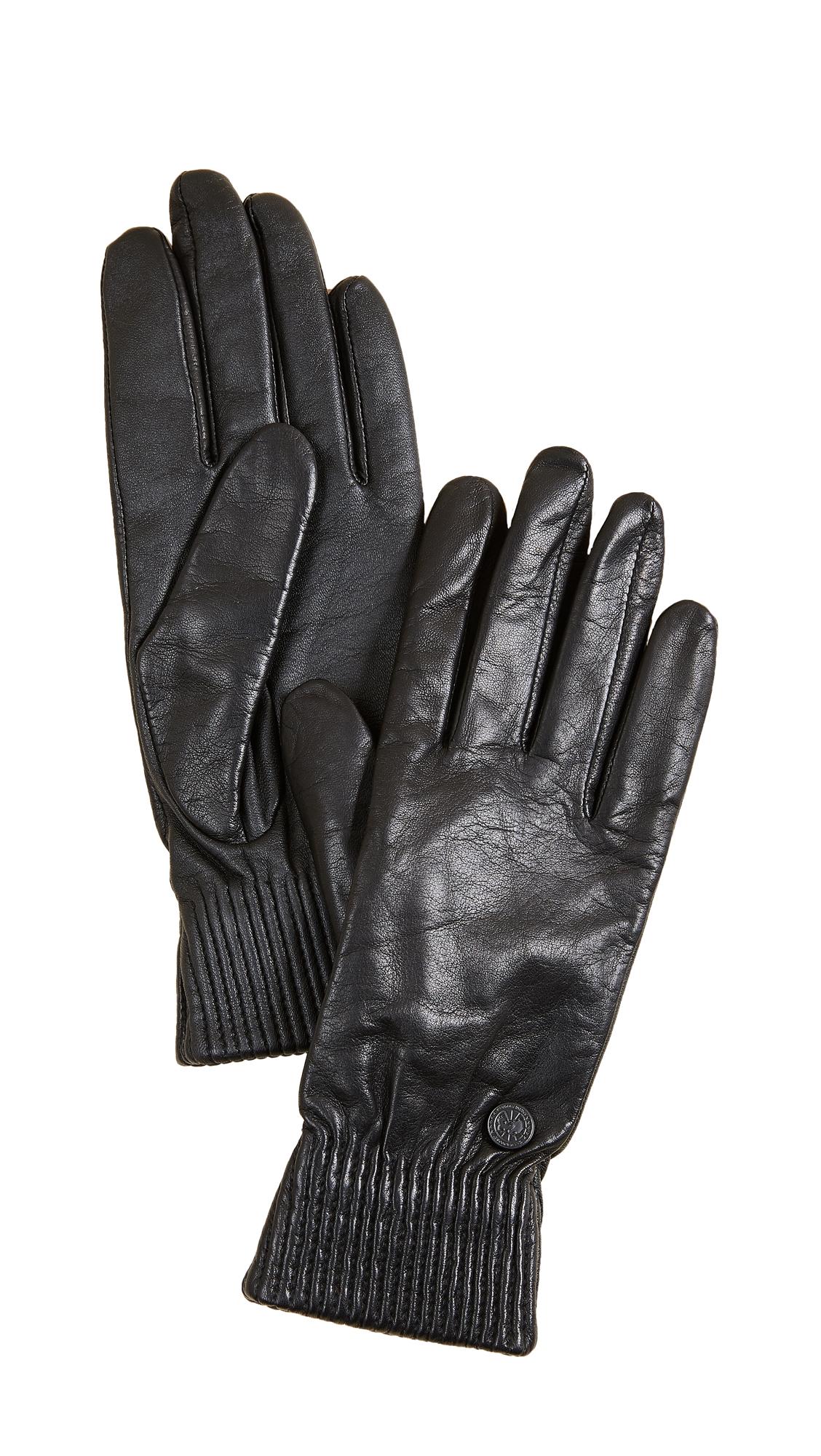 Canada Goose Leather Rib Tech Gloves - Black