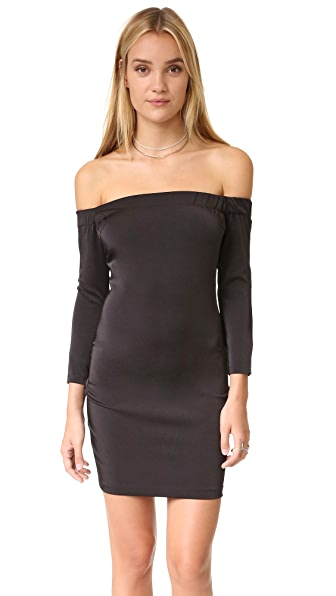 Capulet Off Shoulder Body Con Dress - Black