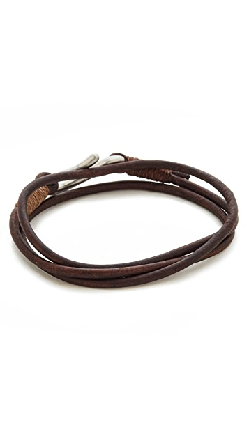 Caputo & Co. Leather Triple Wrap Bracelet