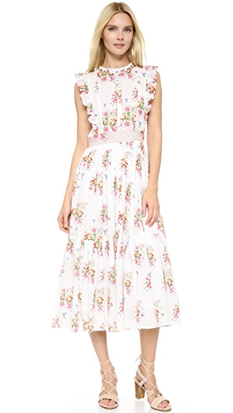 Carolina K Peasant Dress - Water Flowers