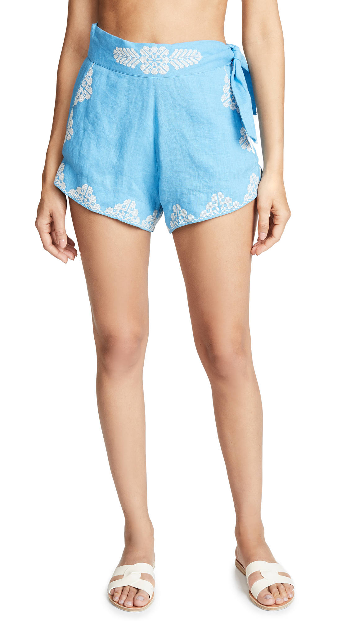 CAROLINA K Sandra Shorts in Blue/Off White