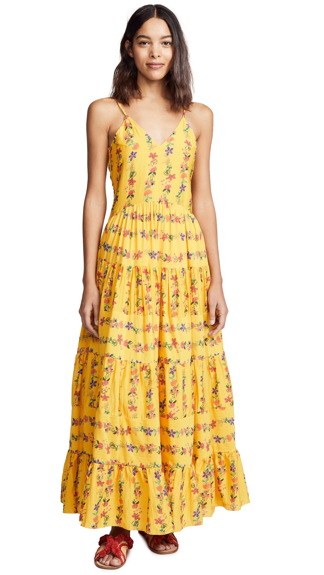 CAROLINA K Marieta Dress in Flower Stripe Sunshine