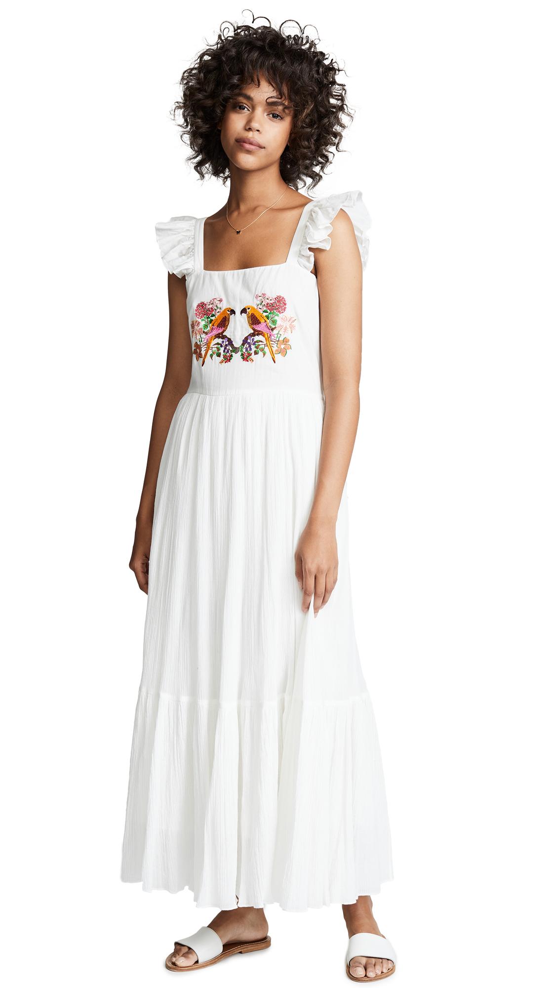CAROLINA K Kuna Dress in Parrot Embroidery White