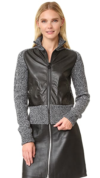 Carven Faux Leather Knit Jacket