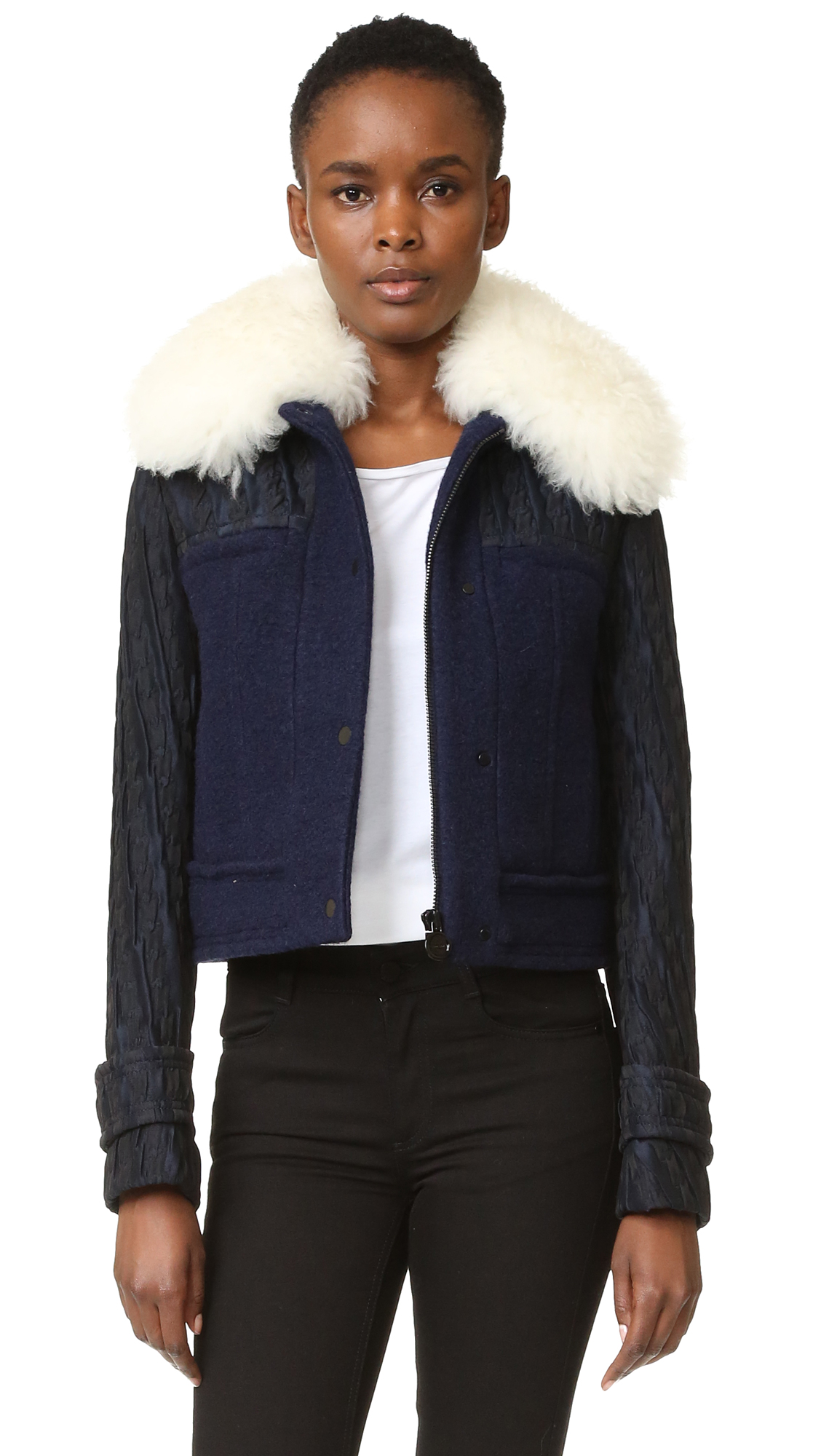 Carven Faux Fur Collar Coat - Marine