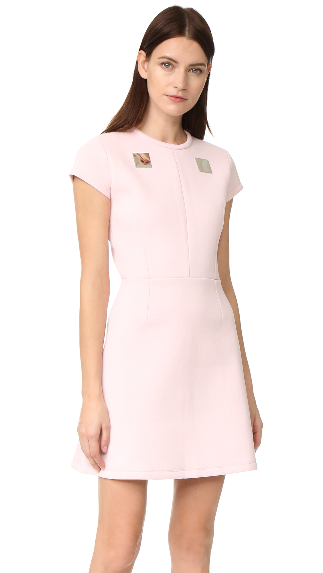 Carven Plate Yoke Dress - Rose Pale