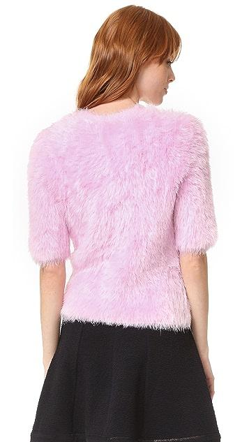 Carven Short Sleeve Fuzzy Sweater