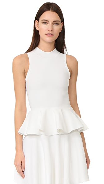 Carven Peplum Top - Blanc Optique