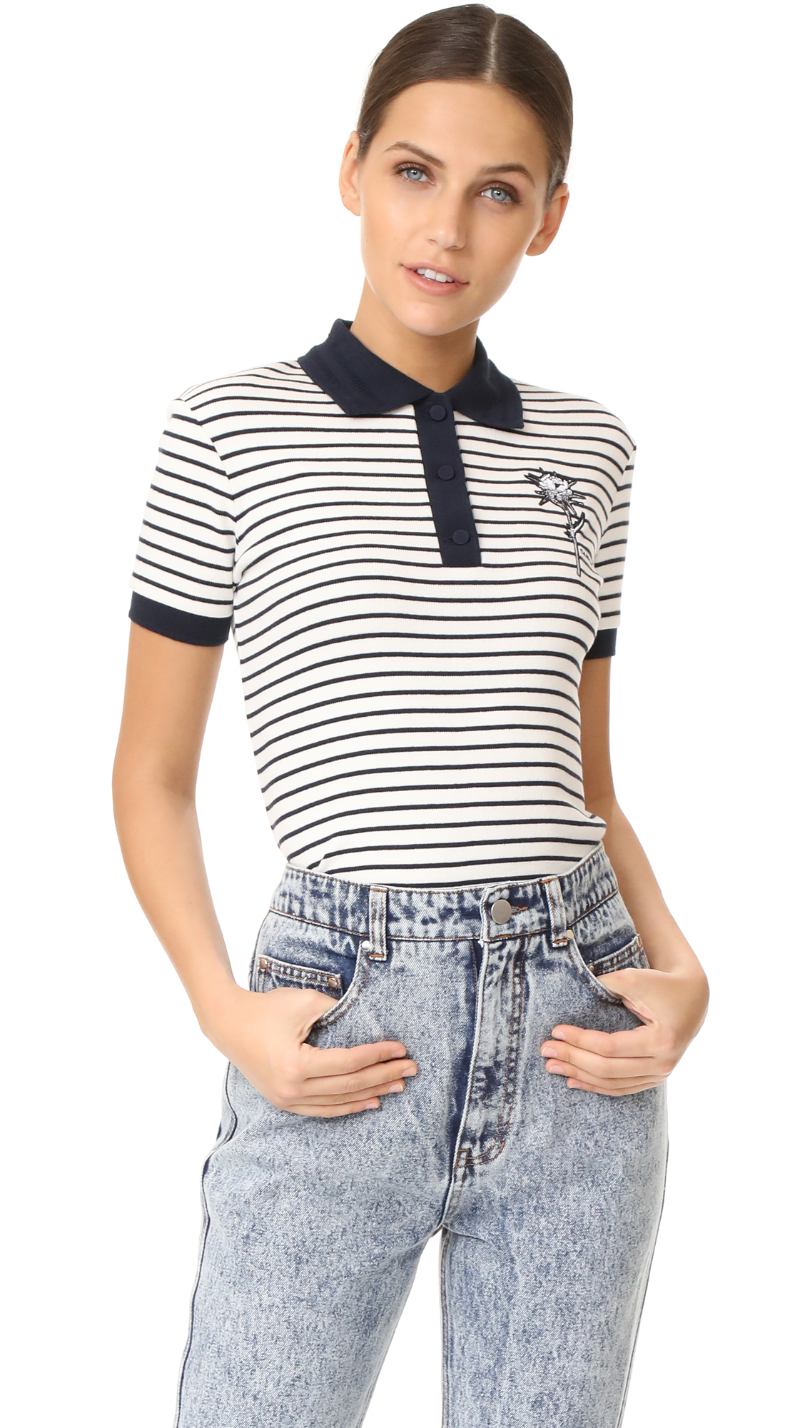 Carven Short Sleeve Polo Shirt Shopbop