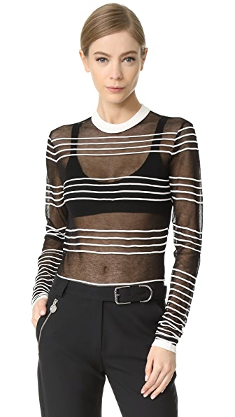 Carven Long Sleeve Striped Sweater