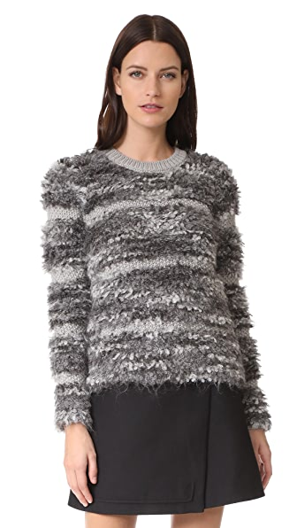 Carven Long Sleeve Sweater In Gris Chine