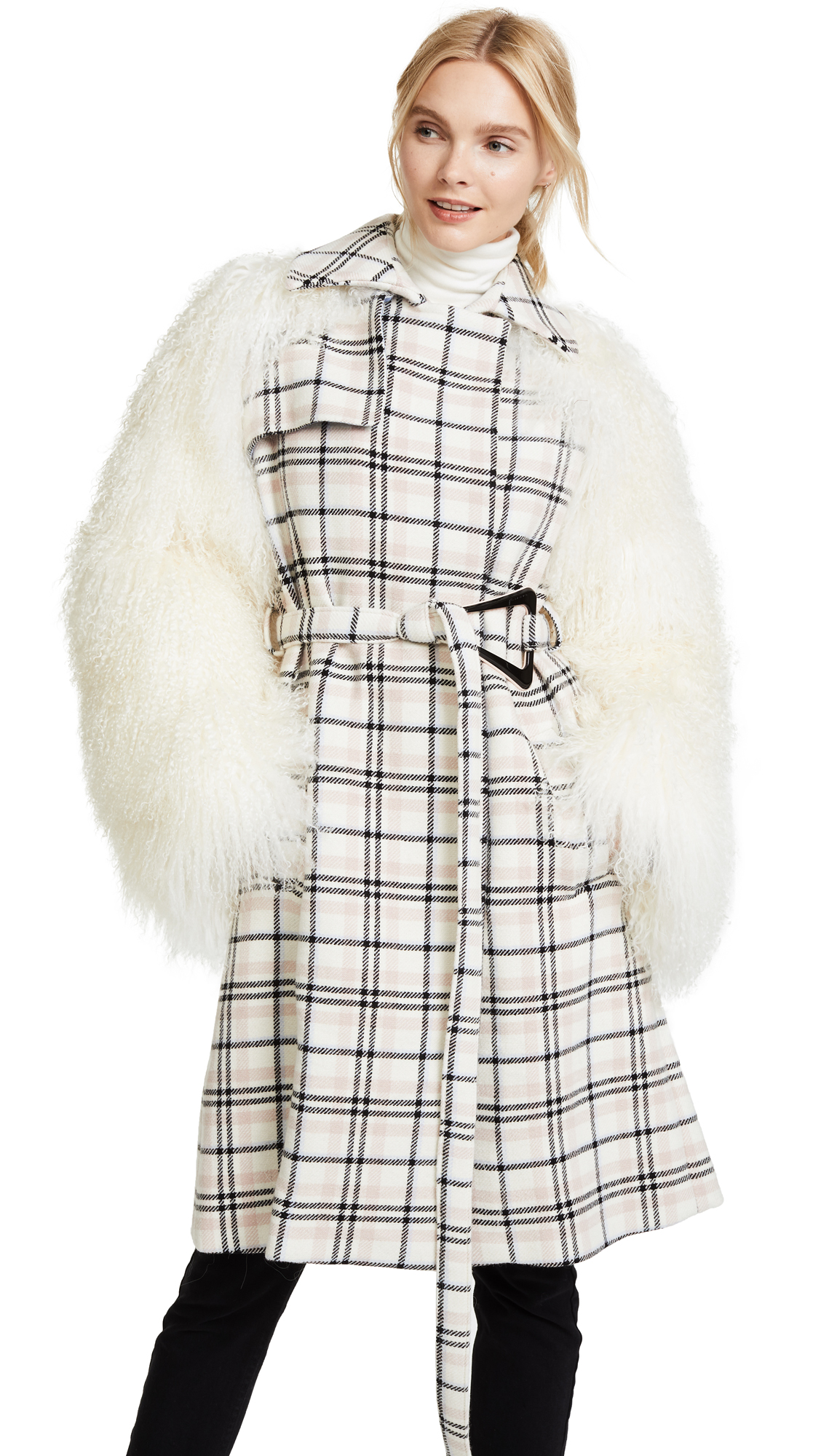 Carven Coat with Shearling Sleeves - Multi