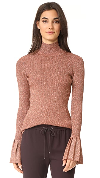 Carven Metallic Sweater With Pleats - Bois De Rose