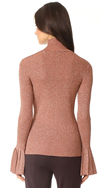 Carven Metallic Sweater With Pleats