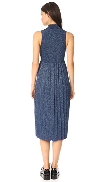 Carven Pleated Metallic Sleeveless Dress