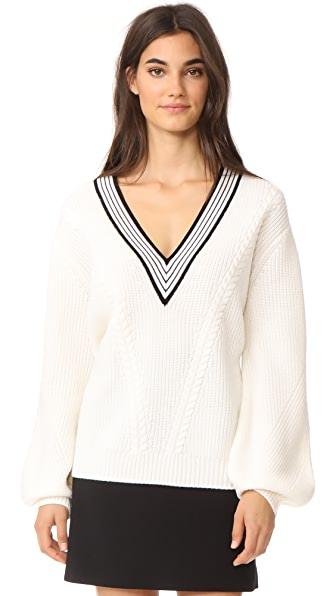 Carven Deep V Cable Knit Sweater