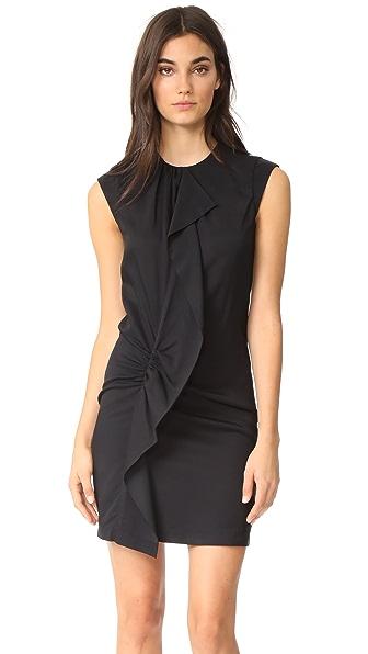 Carven Ruffle Dress In Noir