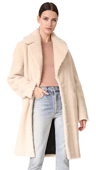 Carven Faux Shearling Coat - Nude