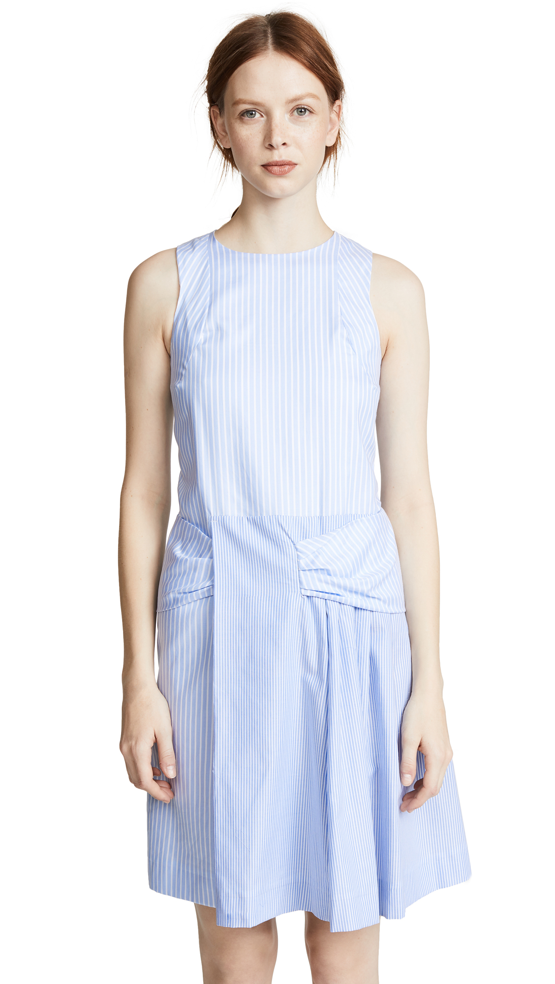 Carven Tie Waist Striped Dress
