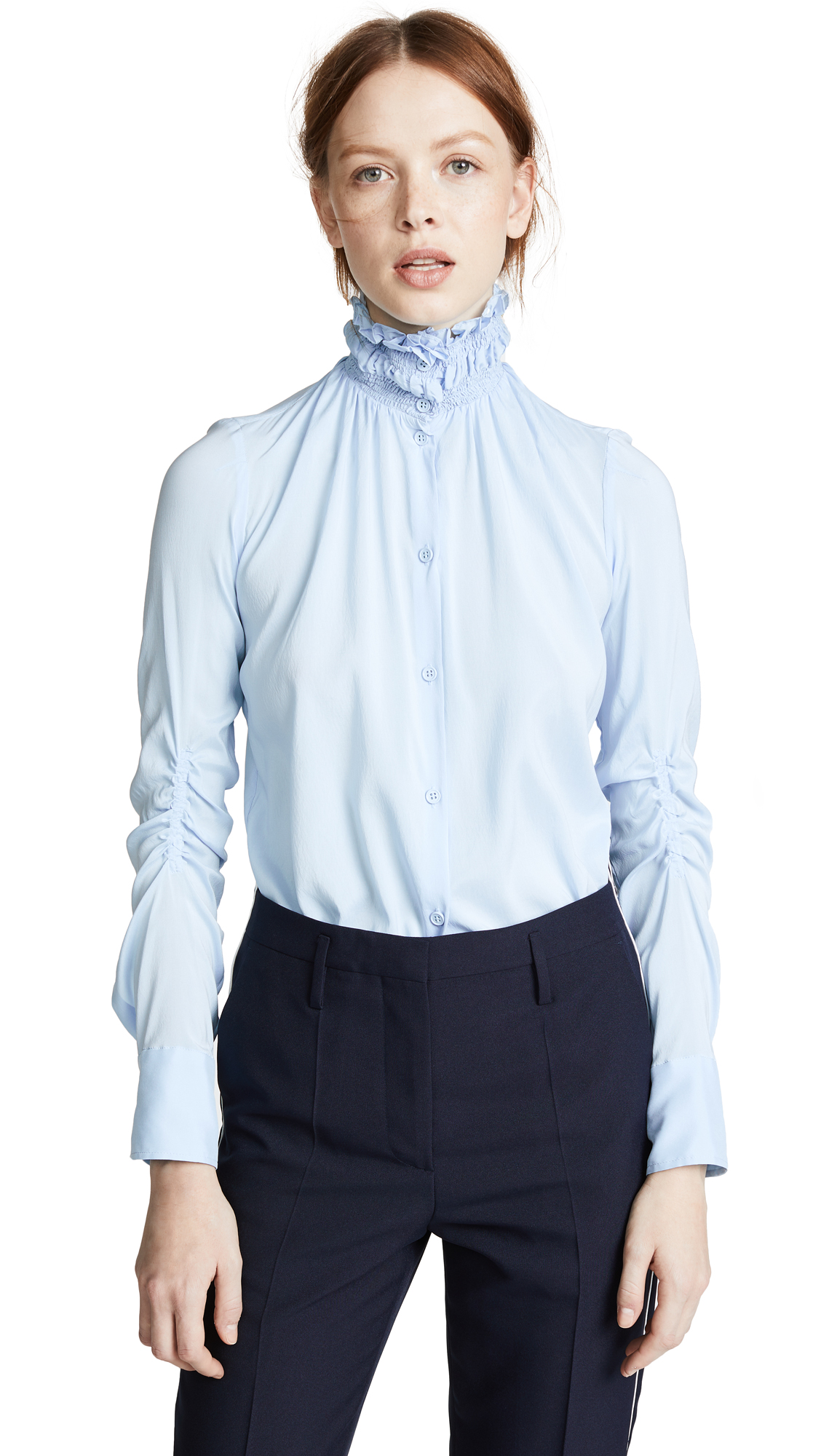 Smocked Stretch-Silk Crepe De Chine Shirt in Sky Blue