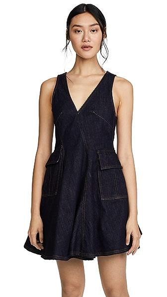 Carven Sleeveless Dress with Pockets In Indigo