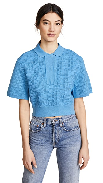 Carven Cropped Collared Shirt In Bleu Acier