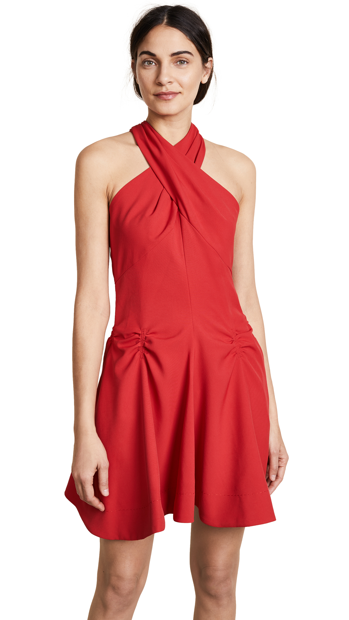 Carven Crossover Dress In Red