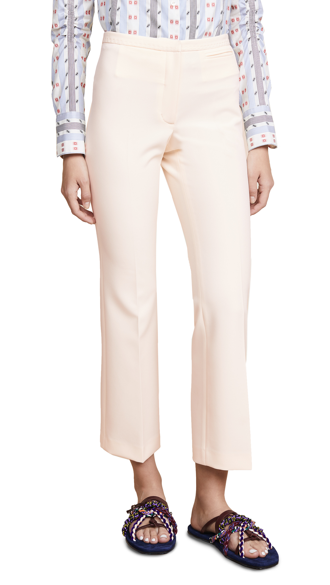 Carven Cropped Stretch Crepe Flared Trousers In Vanille