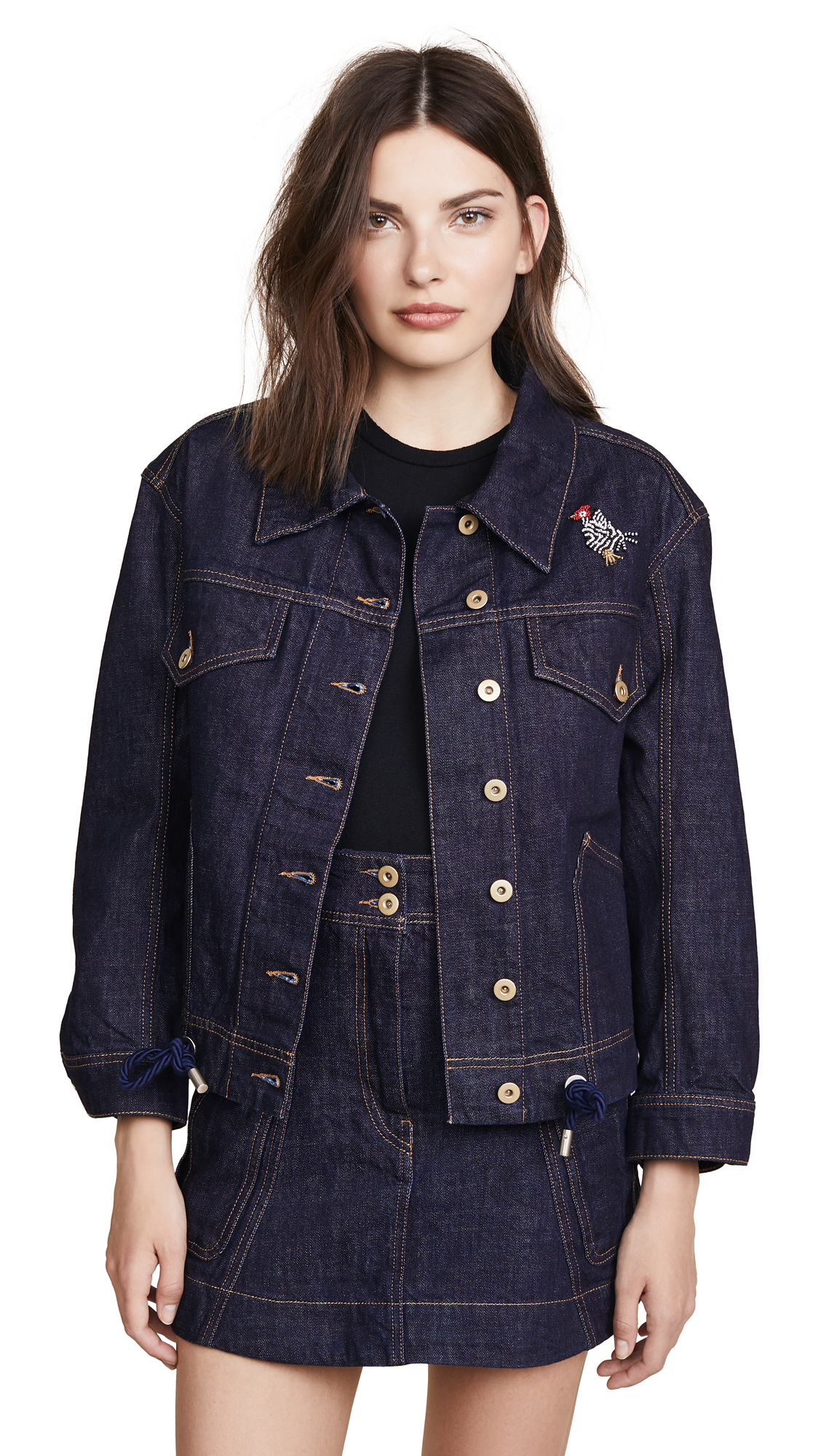 Carven Oversize Denim Jacket In Indigo