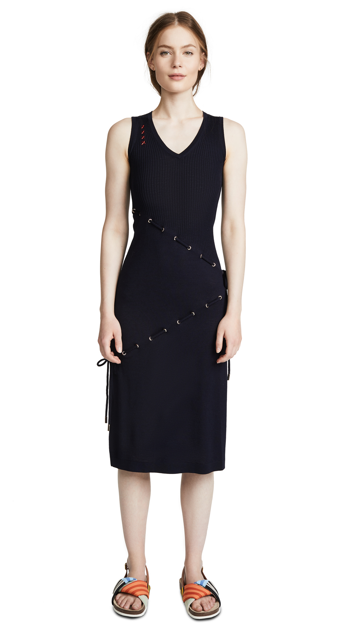 Carven Cord Knit Sleeveless Dress