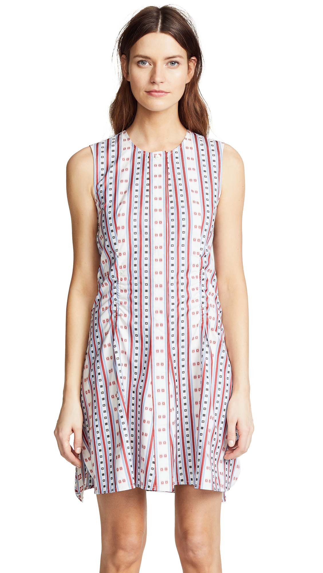 Carven Stripes & Squares Jacquard Flared Dress In Multi