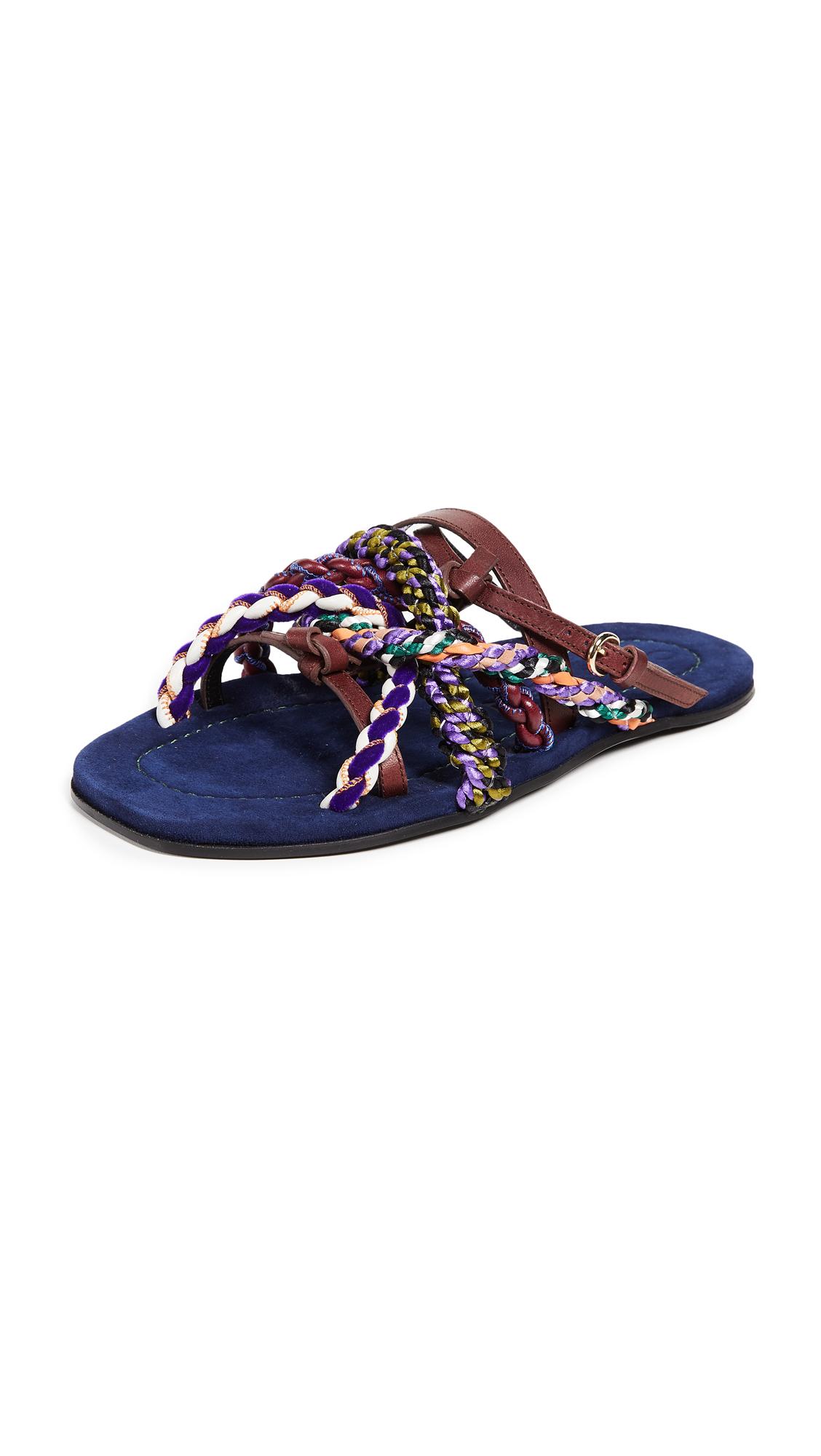 Carven Turenne Slip On Sandals - Bordeaux