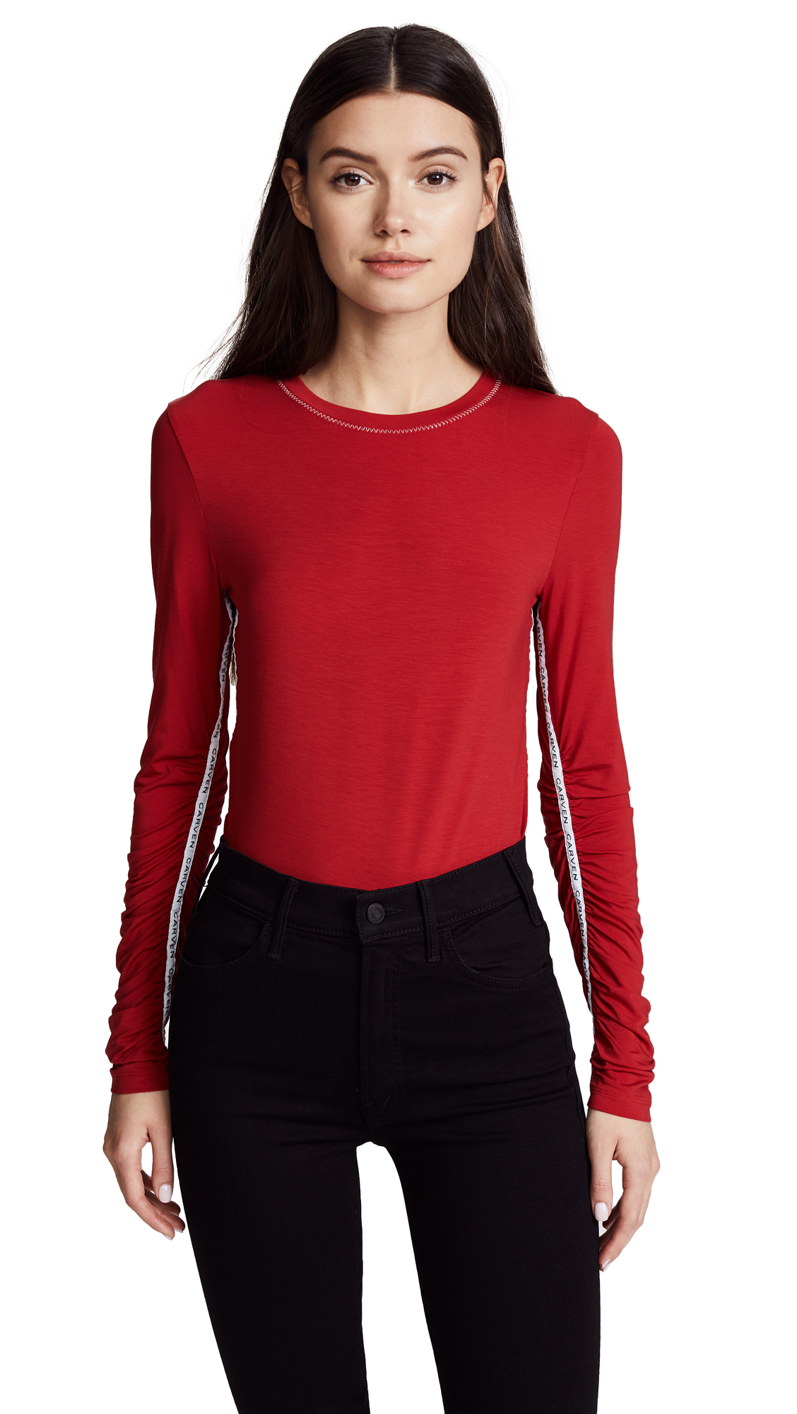 Carven Ruched Long Sleeve Tee