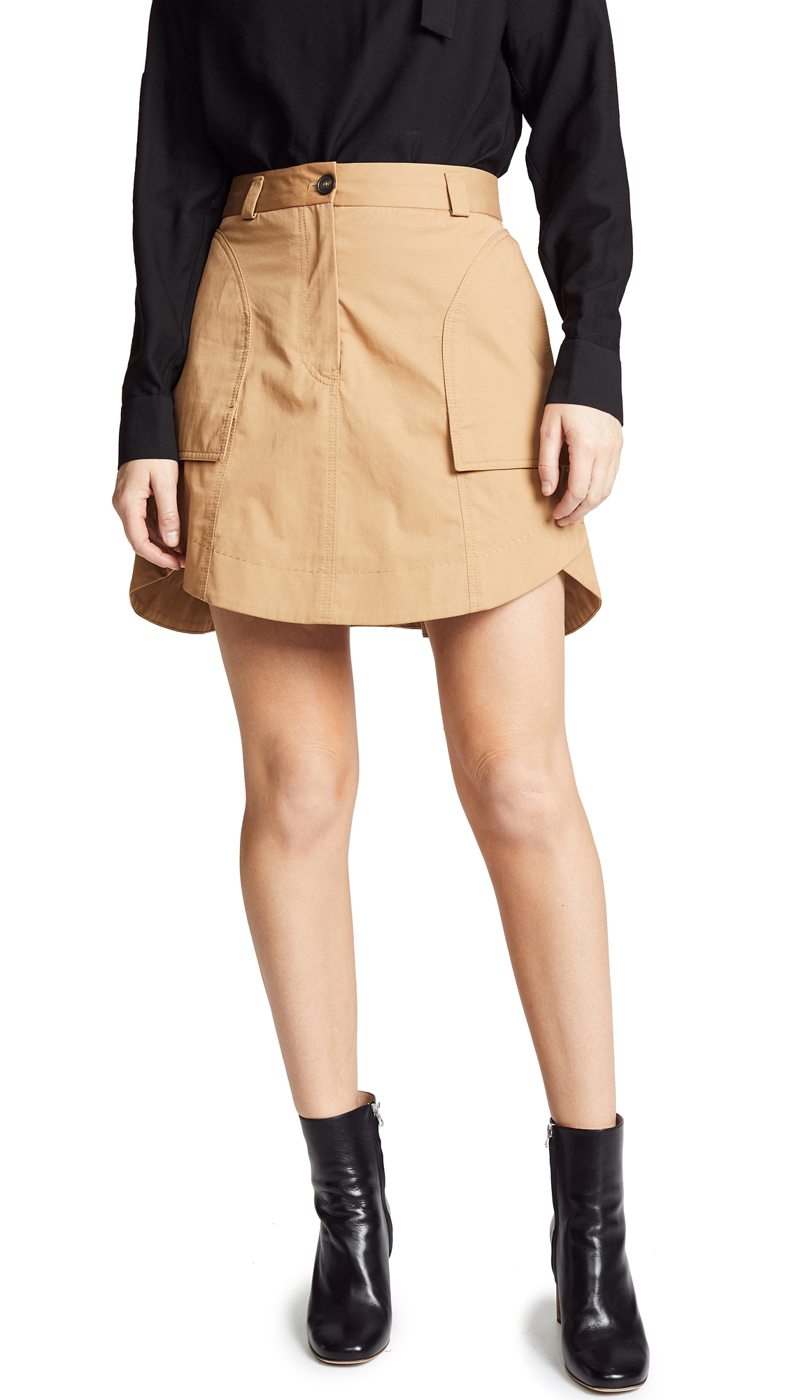Carven Mini Skirt with Pockets In Tan
