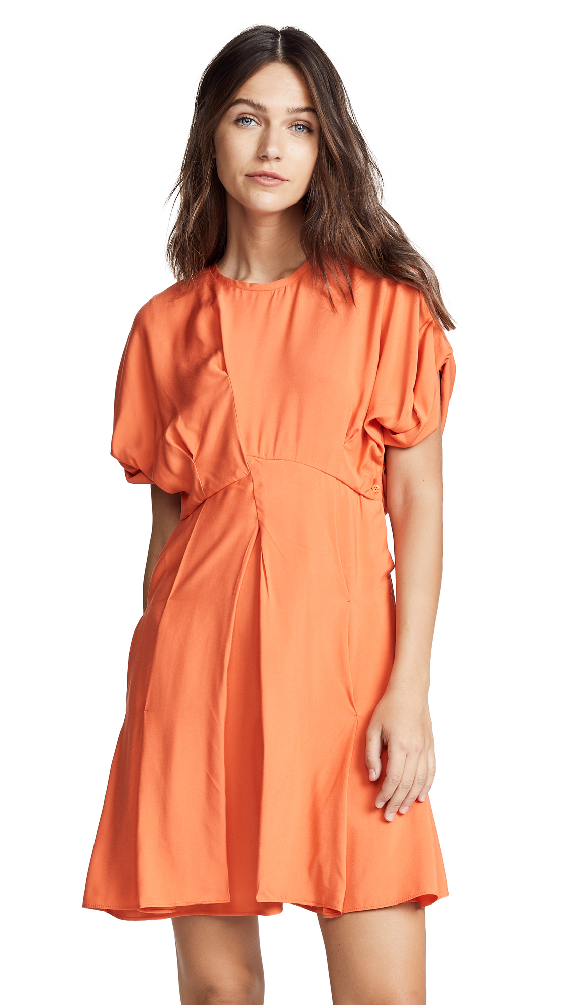 Carven Pleated Skirt Dress In Corail