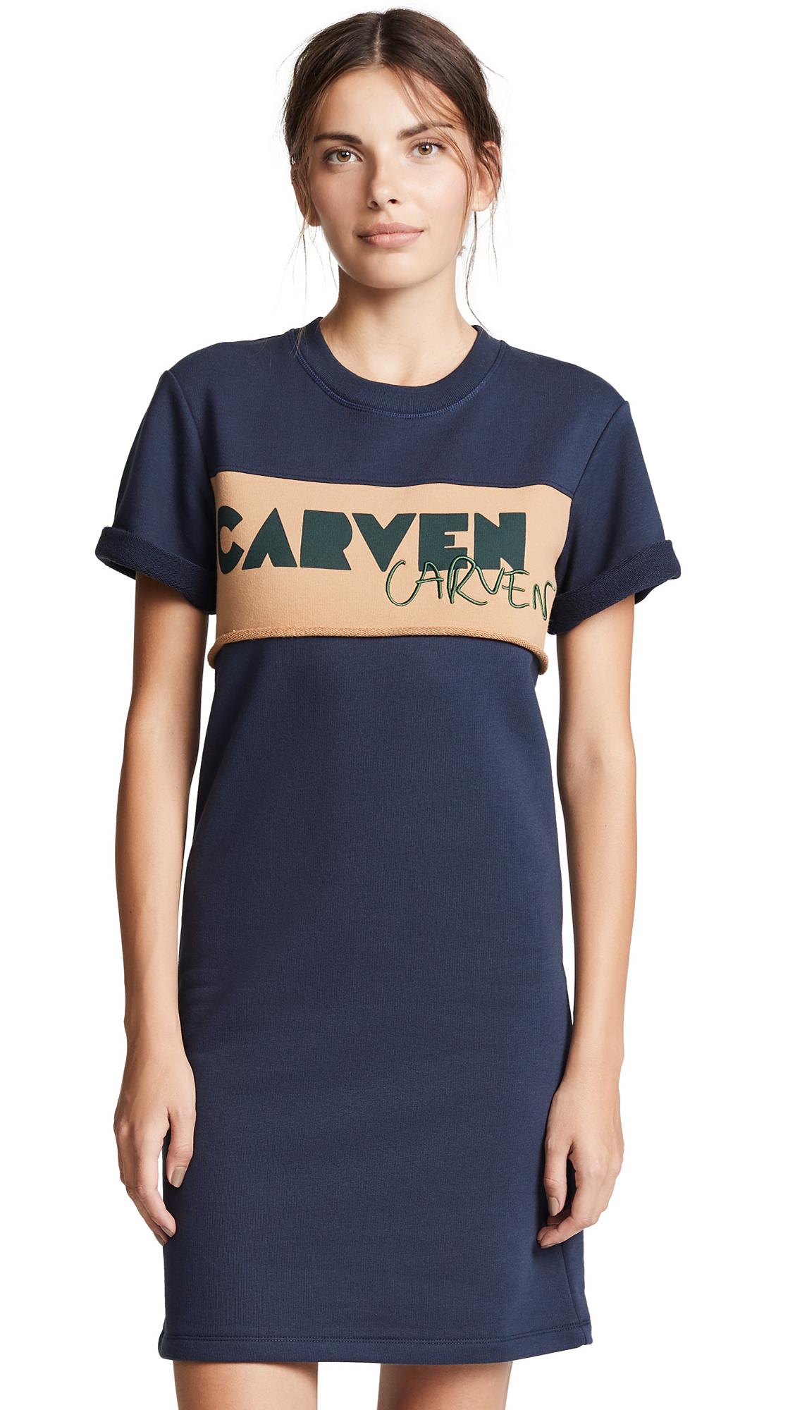 Carven Fleece Tee Dress In Navy/Tan