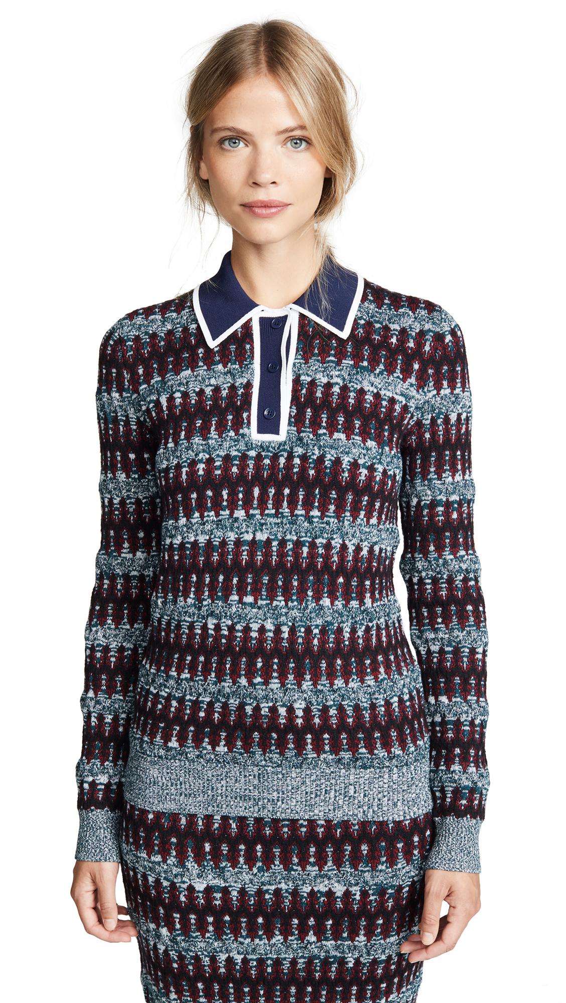 Stripe Merino Wool Blend Polo Sweater, Navy/Bordeaux