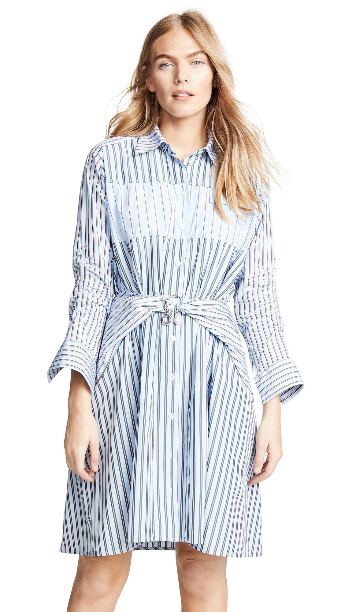 Carven Stripe Mini Shirtdress In Bleu Ciel/Blanc