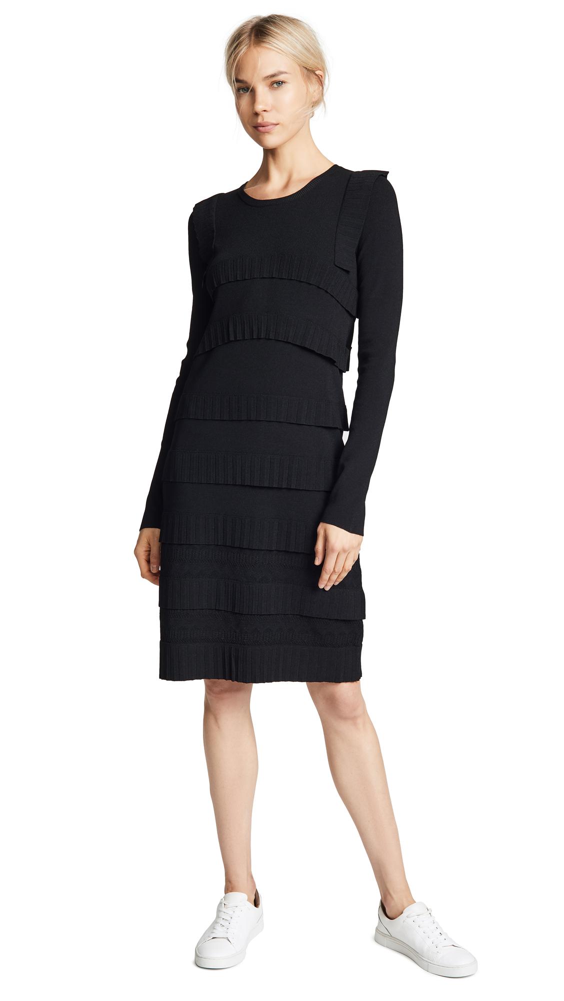Carven Ruffle Trim Sweater Dress In Noir