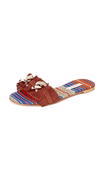Casadei Fringe Slides - Brown