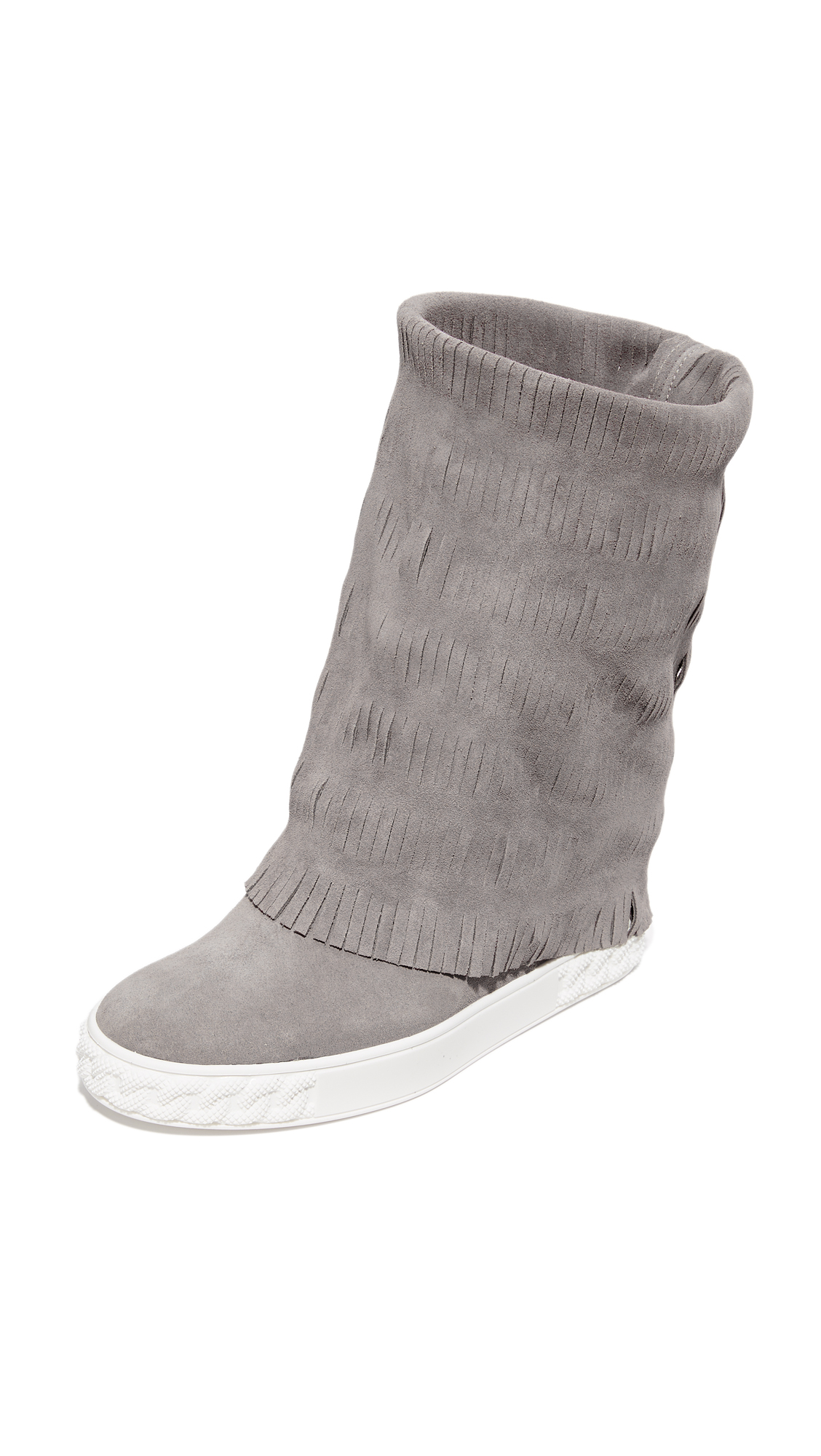 Casadei Fringe Ankle Boots - Grey at Shopbop
