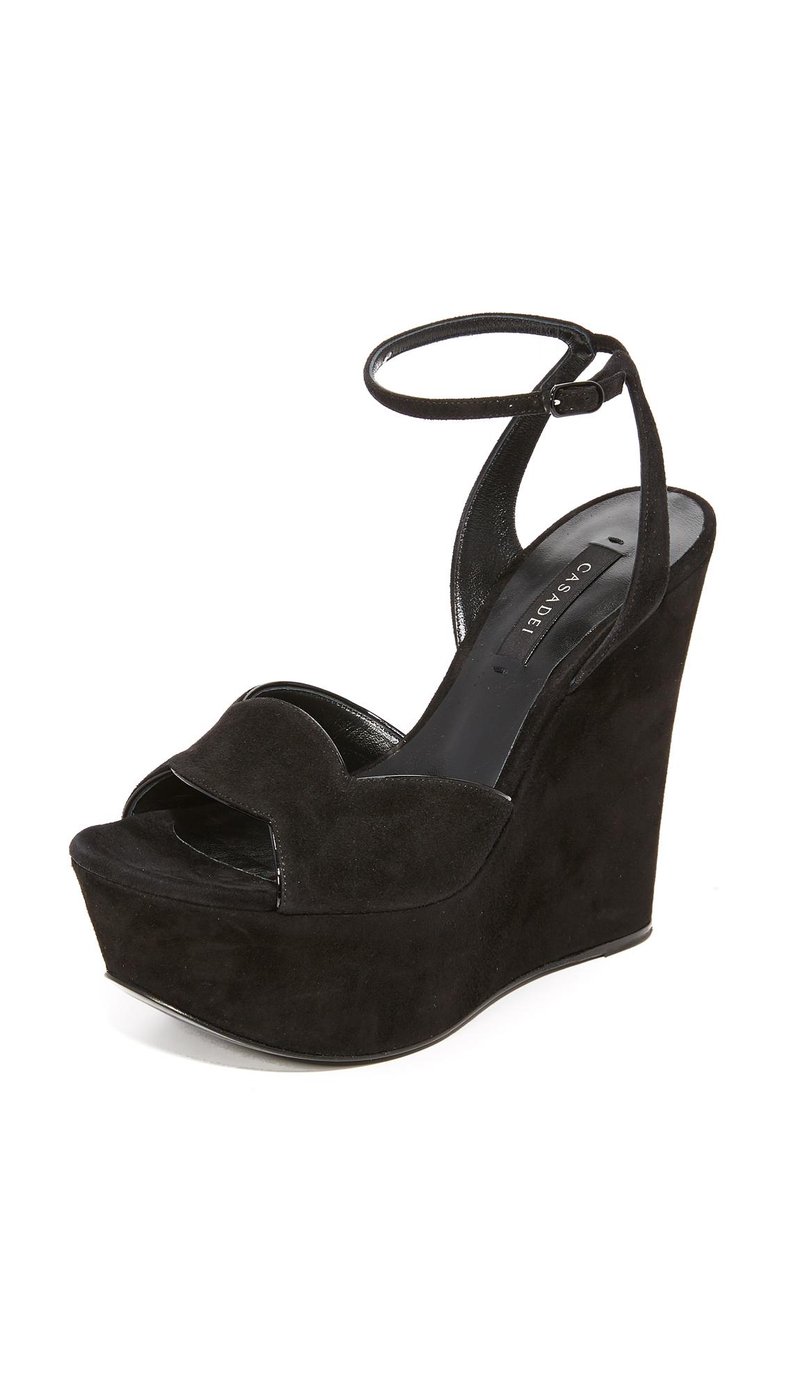 Casadei Wedge Sandals - Black at Shopbop