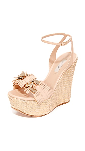 Casadei Jeweled Wedge Sandals - Nude/Gold