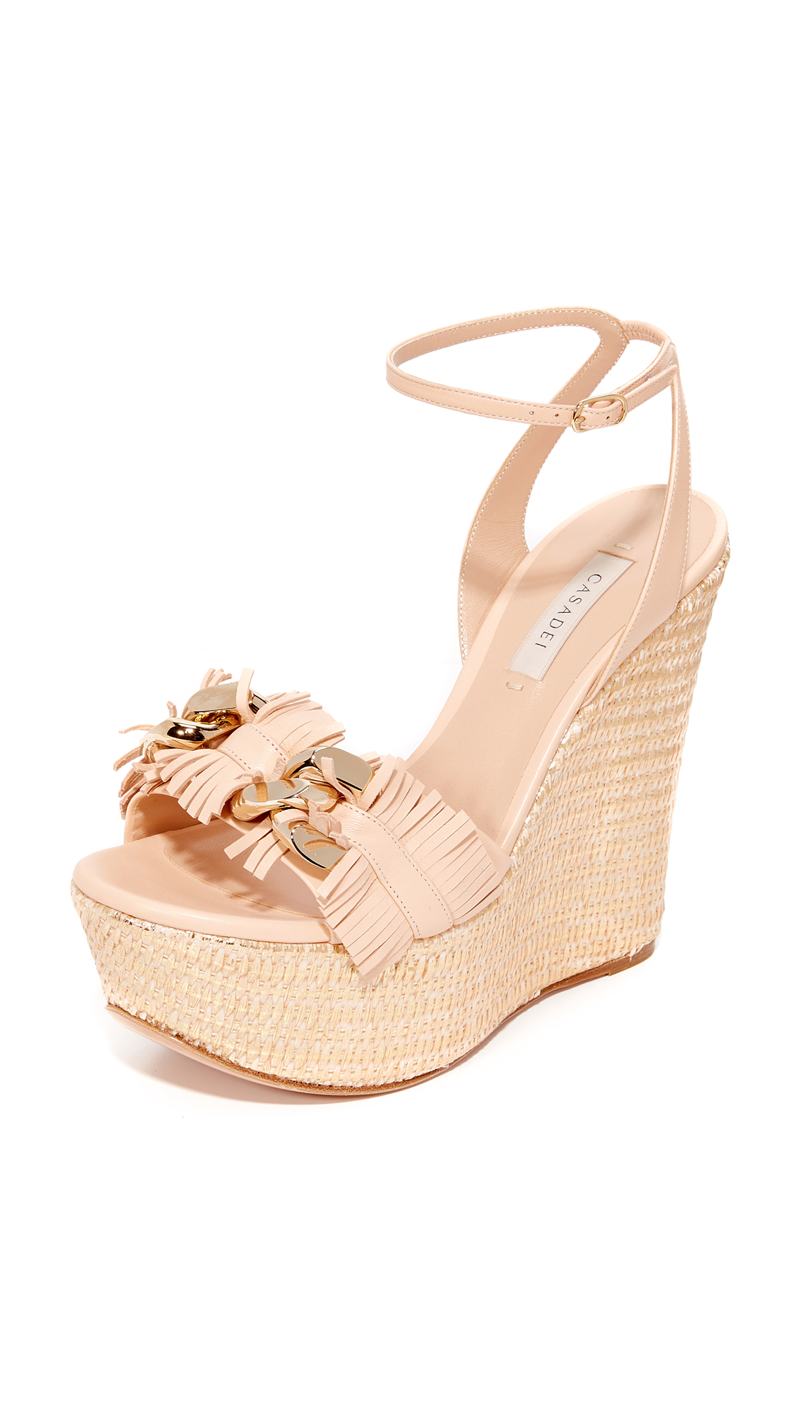 Casadei Jeweled Wedge Sandals - Nude/Gold at Shopbop