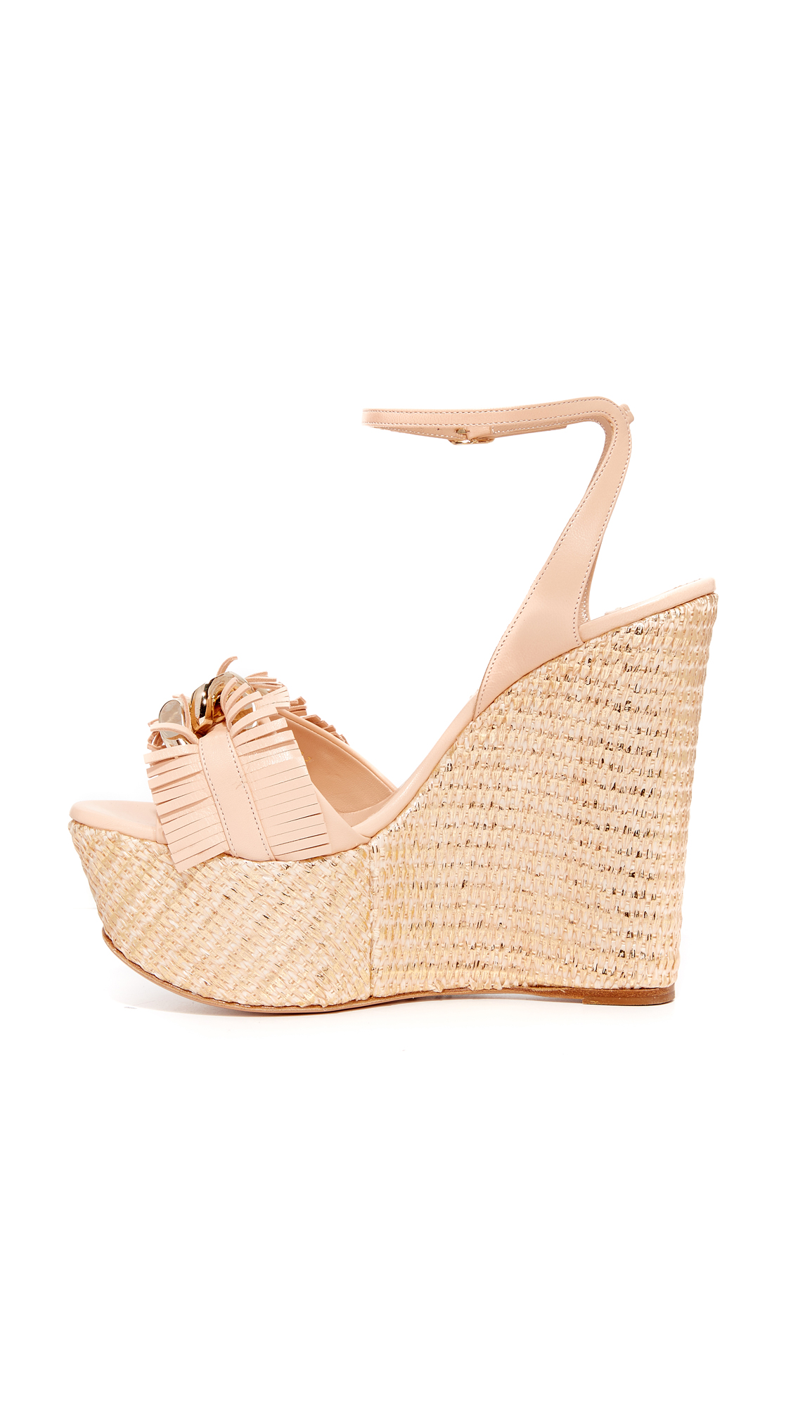 48124780114c Casadei Jeweled Wedge Sandals