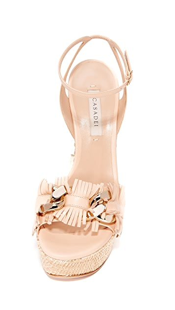 Casadei Jeweled Wedge Sandals