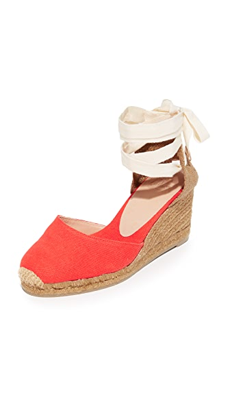 Castaner Washed Canvas Wedge Espadrilles - Mandarina