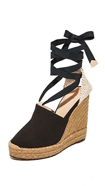 Castaner Urban Canvas Wedge Espadrilles - Black