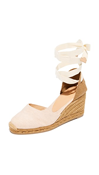 Castaner Washed Canvas Wedge Espadrilles - Nude